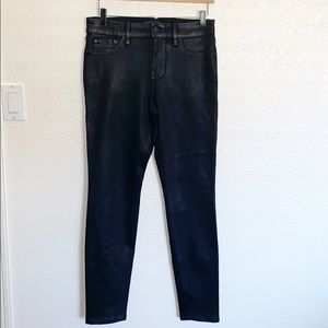 Level 99 Black Coated Leather Looking Skinny Jeans